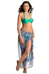 PrettySecrets Women's Swimwear Sarongs (077236_Blue and Multi Print_Free Size)