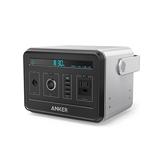 [New Release] Anker PowerHouse, Most Compact 400Wh / 120,000mAh Portable Generator Alternative, Silent DC/AC Power Inverter, 12V Car, AC & USB Outputs, Recharges via AC or Solar for Camping or Backup