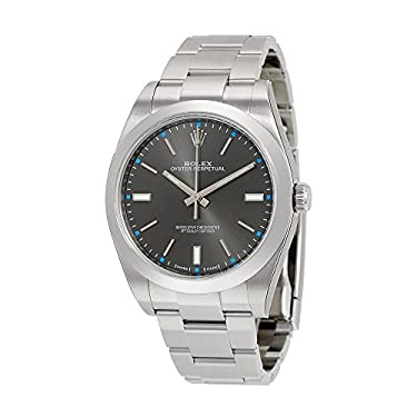 Rolex Oyster Perpetual Dark Rhodium Dial Stainless Steel Mens Watch 114300DRSO