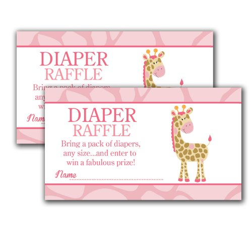 Pink Girl Giraffe Printed Baby Shower Diaper Raffle Tickets (20)