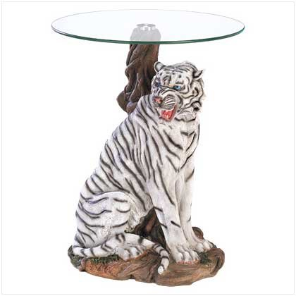 White Tiger Glass Top End Table