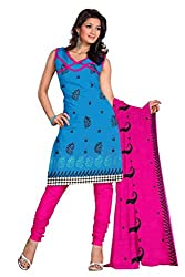 Parinaaz Fashion Sky Blue Cotton Straight unstitched salwar suit