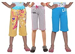 Menthol Girls Stylish Cotton Capri Combo (Pack of 3) (Lemon Greymelange Turquoise, 5-6 Years)