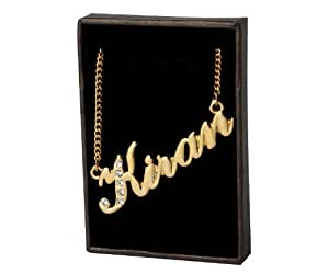 amazon   indian name necklaces kiran   personalized necklace gold plated 18k curb chain