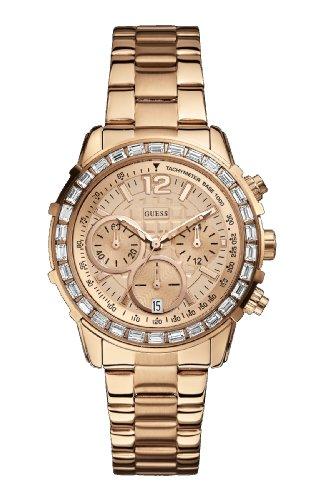 Guess  - Reloj de cuarzo para mujer, con correa de acero inoxidable, color rosa