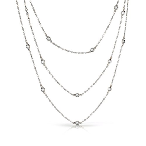 Bling Jewelry CZ by the Yard Sterling Silver Necklace 54in
