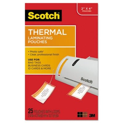 3M - Luggage tag size thermal laminating pouches, 5 mil, 4 1