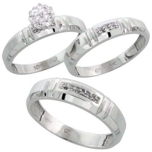 White Gold Trio Wedding Rings For Him And Her