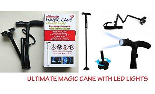 Magic Cane Canne de marche pliante avec lumière LED, réglable en hauteur