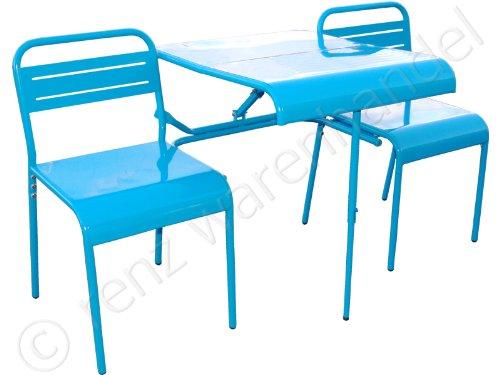 Gartenbank Gartenmöbel Bank Palma mit Klapptisch Metall blau günstig