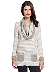 Per Una Cotton Rich Striped Tunic with Scarf