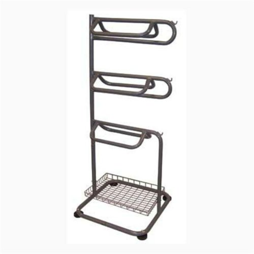 Saddle Rack Space Saving Rack Holds 3 Saddles, Pads, Bridals & Halters. Includes a Wire Basket for Horse Grooming Supplies. (Saddle Rack compare prices)