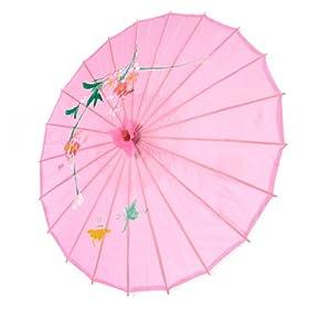 Asian Japanese Chinese Umbrella Parasol 32in Pink 156-1