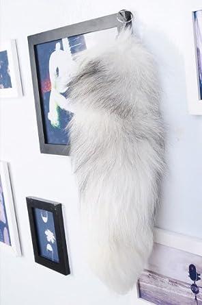 New Genuine Real Fur Tail Key Chain Fox Raccoon Ring Handbag Celebrity Black White Yellow (white)