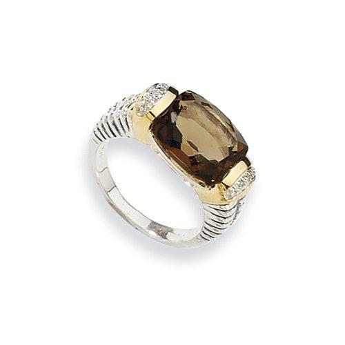 Sterling Silver w/14k 2.11Smokey Quartz & .02ct. Diamond Ring