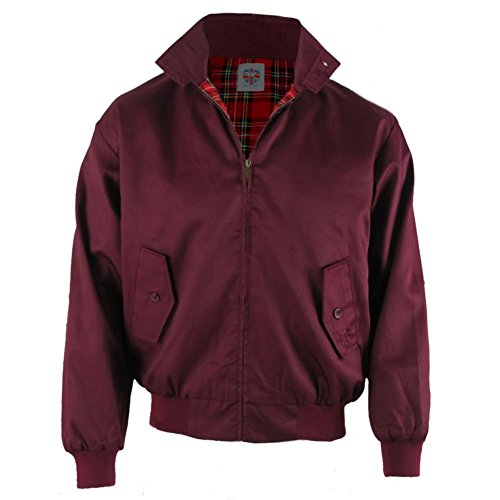 Warrior - Harrington - Giubbino uomo mod con fodera scozzese - bordeaux - L