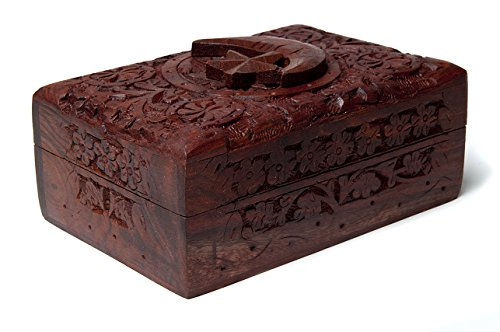 Trovare Qualcosa Di Diverso Luna e Stelle in legno intagliato scatola Tarocchi, Bambù, Multicolore