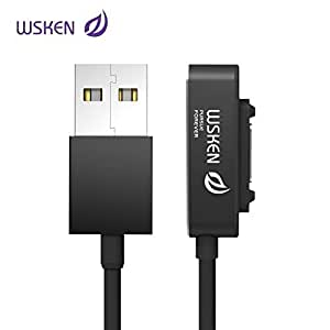 WSKEN Portable Version Single Metal Magnetic USB Charging Cable for Sony Xperia Z3 Z2 Z1 Ultra XL39h Sony Xperia Mini Z3 Compact Tablet Smartphone Charging Cable Magnetic Connection - 0.4m Black
