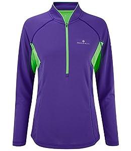 Ronhill Women's Trail Running Long Sleeve Zip T-Shirt Plum / Fluo Green 8