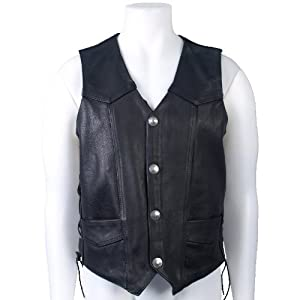 Hot Leathers Heavy Weight Leather Vest with Lace-Up Sides (Black, XXX-Large)