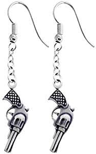 Dan Jewelers Revolver Handgun Pewter Earrings
