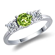 1.10 Ct Round Green Peridot I/J Diamo…