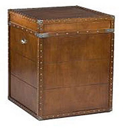 Accent Antique Rectangle Steamer Walnut Finish Trunk End Table 3
