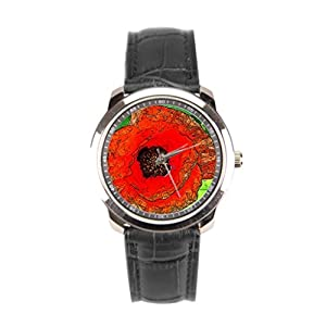sanYout Watch With Leather Band Plant Leather Strap Watch Flower Men Leather Watch Colorful