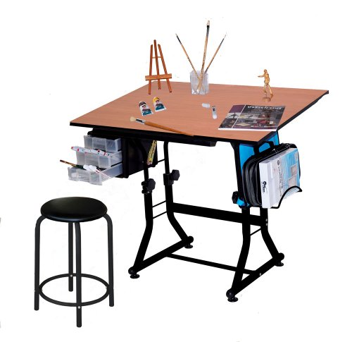 Martin Ashley Art-Hobby Table with Stool, Black with Cherry Top, 23-1/2-Inch by 35-1/2-Inch Size Surface