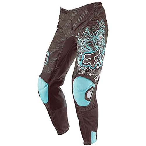 Fox Racing 180 Youth Girls Motocross Motorcycle Pants w/ Free B&F Heart Sticker - Color: Brown/Blue, Size: 22