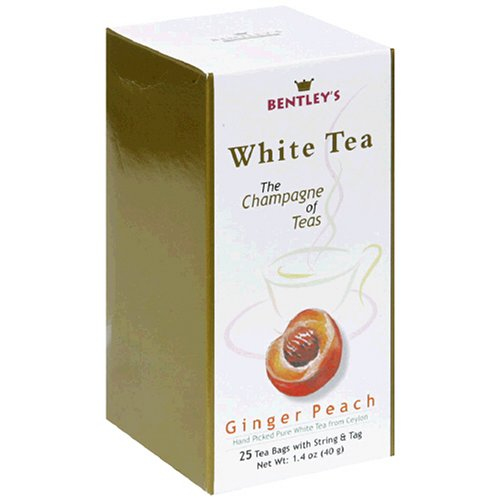 Buy Bentley's Ginger Peach White Tea, 25-Count Boxes (Pack of 4) (Bentley's, Health & Personal Care, Products, Food & Snacks, Beverages, Tea, White Teas, Tea Bags)