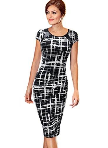 VfEmage Women's Printed Patchwork Wear to Work Office Casual Pencil Dress 2110