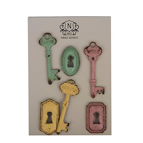 NIKKY HOME Shabby Chic Pewter Keys and Locks Shape Refrigerator Magnets Set of 6 Pink, Green, Yellow (Refrigerator Key Lock compare prices)