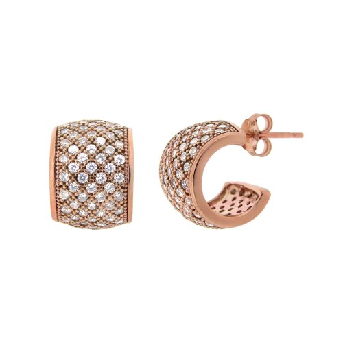 Rose Gold Plated Silver Micro Pave Cubic Zirconia J-Hoop Post Earrings