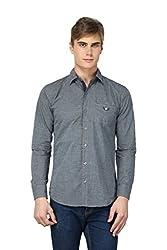 BRAVEZI Men's Dark Grey Solid Casual Slim Fit Shirt