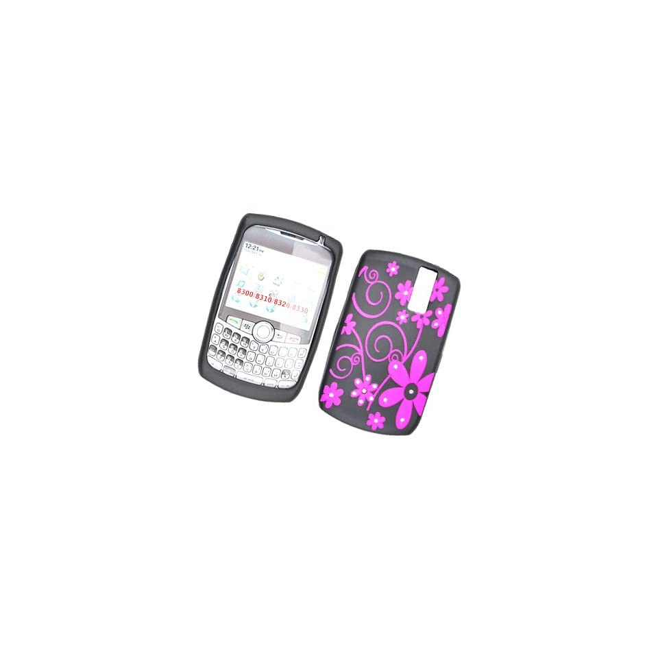 HOT PINK FLOWER WITH DIAMOND RHINESTONE SOFT SILICONE SKIN GEL COVER CASE FOR BLACKBERRY CURVE 8300 8310 8320 8330