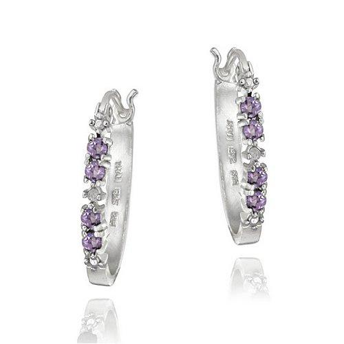 Sterling Silver Amethyst & Diamond Accent Hoop Earrings