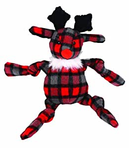 Hugglehounds Plaid Knotties Reindeer Dog Toy