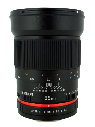 Rokinon 35mm F/1.4 AS UMC Wide Angle Lens for Nikon with Automatic Chip RK35MAF-N