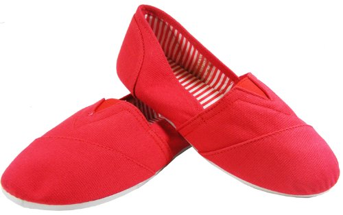 NEW Womens Red Canvas Espadrilles Casual Plimsolls Flats Pumps Shoes NWT SIZE 4