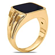 .06cttw with Black Onyx Gents Ring in 10k Yellow Gold-Semi Hollow Closed Back