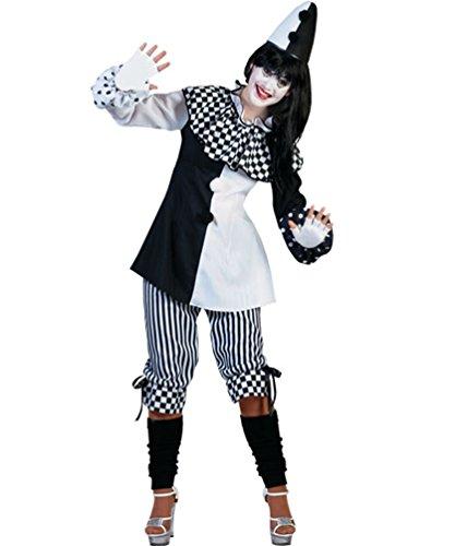 Pierro´s Kostüm Harlekin Dame Clown Damenkostüm Oberteil Hose Größe 44/46 für Karneval, Fasching