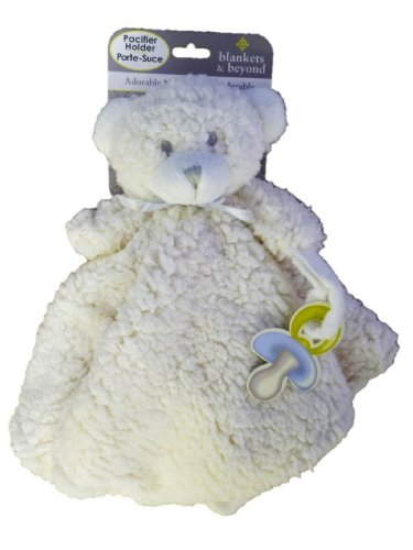 874fdac996 BLANKETS   BEYOND ADORABLE NUNU PACIFIER HOLDER OFF-WHITE TEDDY BEAR