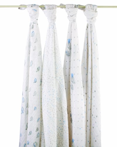 Aden + Anais Classic Muslin Swaddle Blanket 4 Pack, Night Sky
