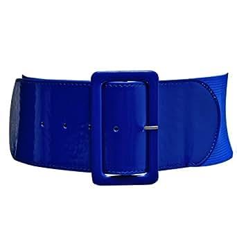 """Luxury Divas Blue 3"""" Wide Elastic Patent Leather Cinch Corset Belt"""