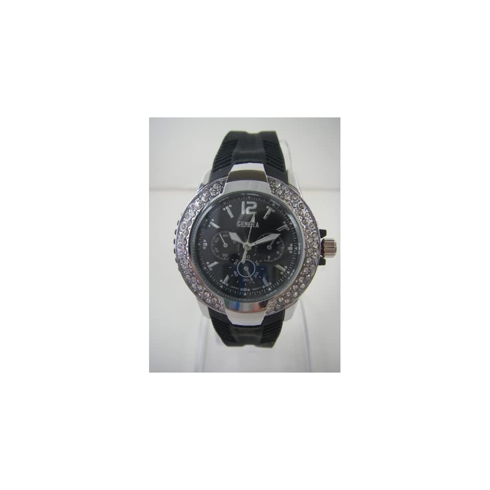 Ladies Chronograph Style Sportswatch with Black Silicone Band   Womens Fashion Watch with Rhinestone Bezel