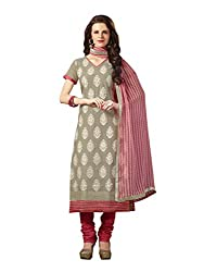 Touch Trends Grey Embroidered Dress Material