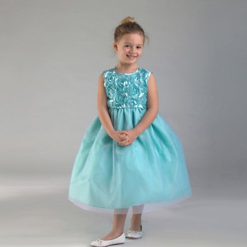 Crayonkids-Ck926-Floral Bodice Multi-Layered Tea Length Dress Turquoise Size 2T