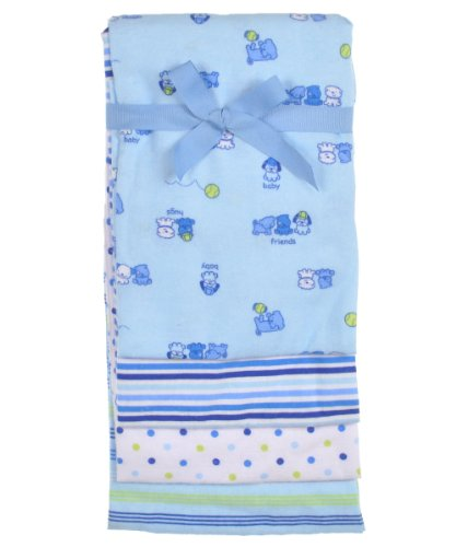 "Nuby ""Puppy Friends"" 4-Pack Receiving Blankets - blue, one size"