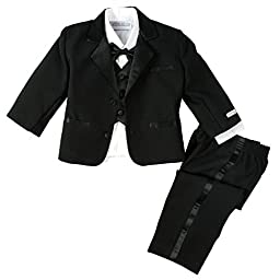 Spring Notion Baby Boys\' Black Classic Fit Tuxedo Set, No Tail 4T